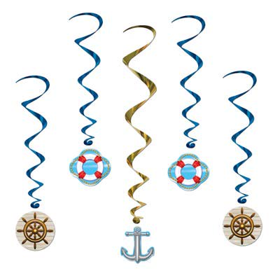 Pack of 30 Assorted Cruise Ship Boat Nautical Metallic Hanging Party Decoration Whirls 40