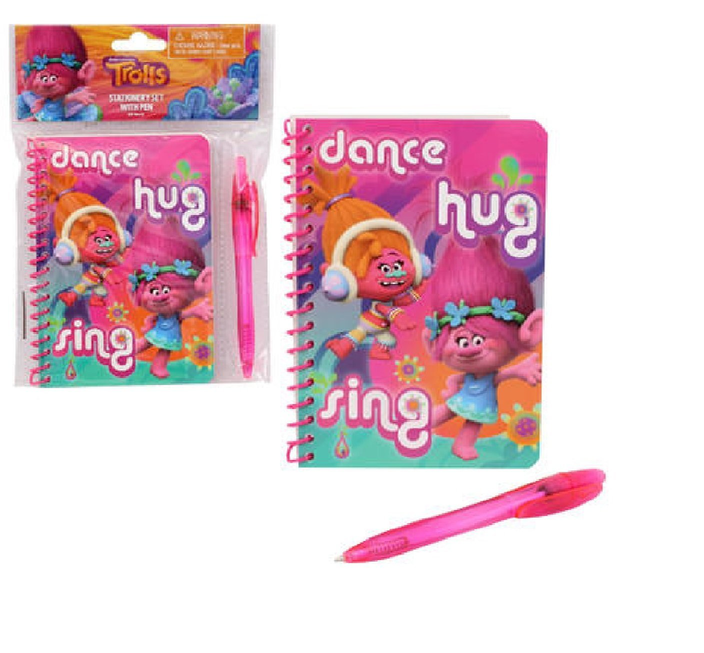 Dreamworks Trolls Stationery Set with Pen features a hot pink cover