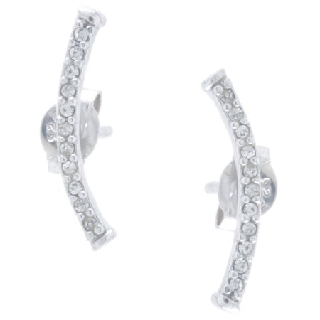 Ear Clipper (Sterling Silver CZ Curved Ear Climber)