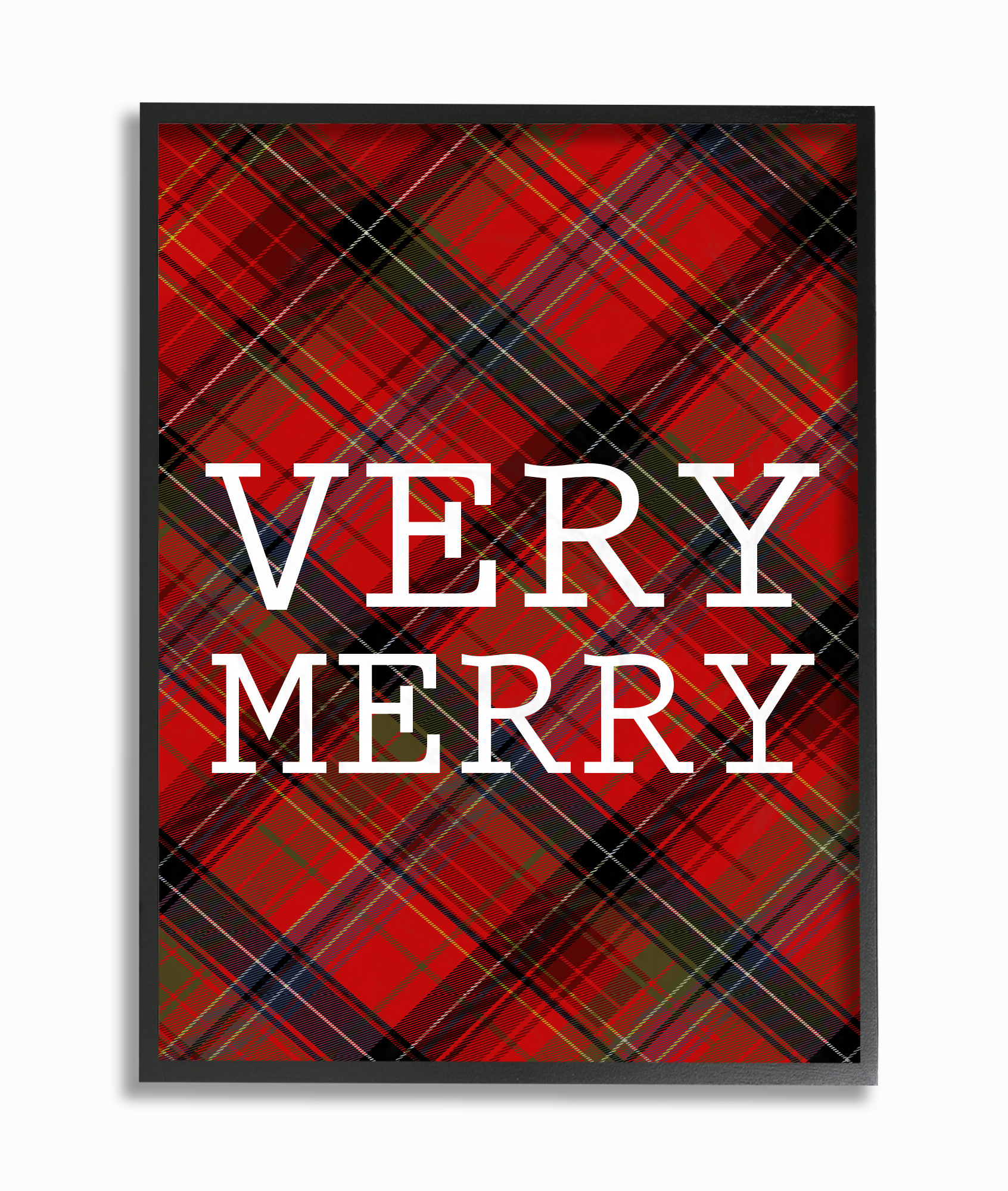 The Stupell Home Decor Collection Very Merry Christmas Tartan Framed Giclee Texturized... by Stupell Industries