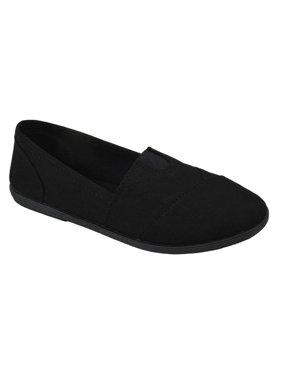 Soda Flat Women Shoes Linen Canvas Slip On Loafers Memory Foam Gel Insoles OBJI-S All Black 5.5