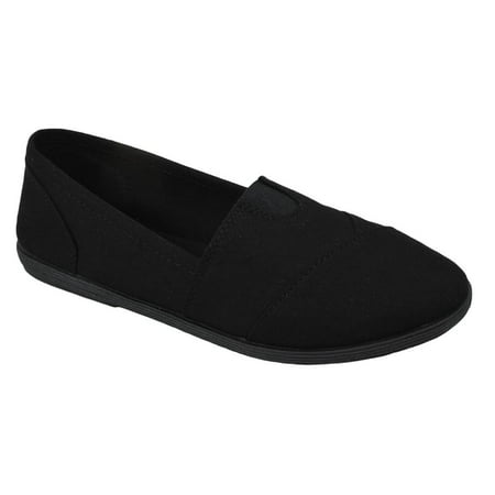 Soda Flat Women Shoes Linen Canvas Slip On Loafers Memory Foam Gel Insoles OBJI-S All Black 5.5