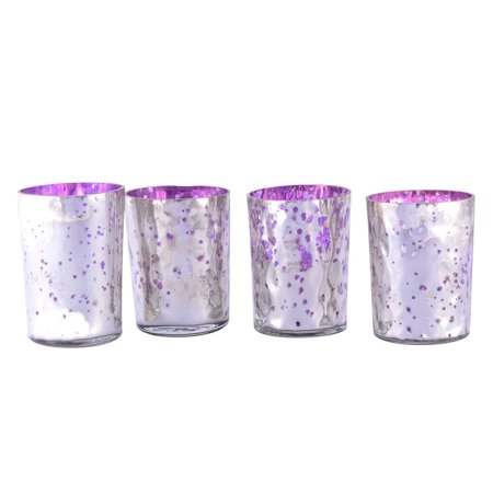 Set Of 4 Gl Tealight Votive Candle Holders In Light Purple Silver Mercury Finish Ideal