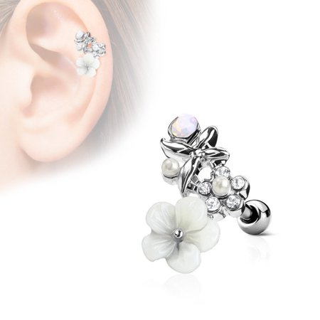 MoBody 16G Clear CZ and Clay Flowers Curve Top Tragus Stud Earring Surgical Steel Ear Cartilage Helix Ear Piercing Jewelry (Silver-Tone)