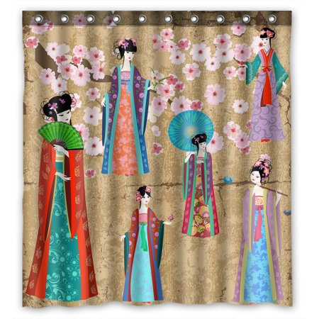 YKCG Oriental Girl in Chinese Costume Pink Floral Cherry Blossom Shower Curtain Waterproof Fabric Bathroom Shower Curtain 66x72 inches - Girls In Shower
