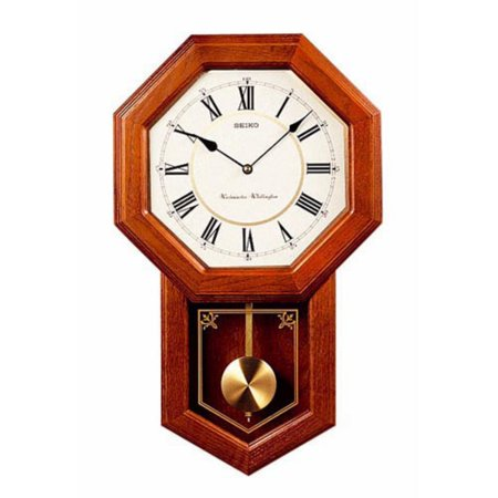 Seiko Brown Oak Schoolhouse Wall Clock - 12.75 Inches Wide ()