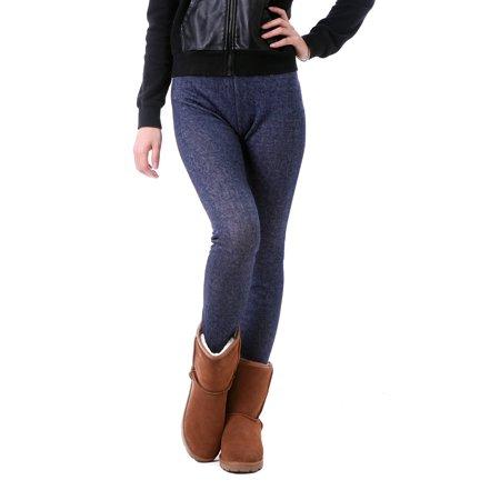 2e343f9a98633 HDE - HDE Women Winter Nordic Leggings Fleece Line Thermal Insulated  Stretch Pants (Denim Jeggings, Large) - Walmart.com