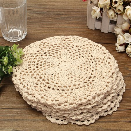 Meigar 12pcs 8 Inch Crochet Table Placemats Handmade Crochet Cotton Lace Doilies Table Mat Cups Dishes Mat, Value Pack, Flower, Beige