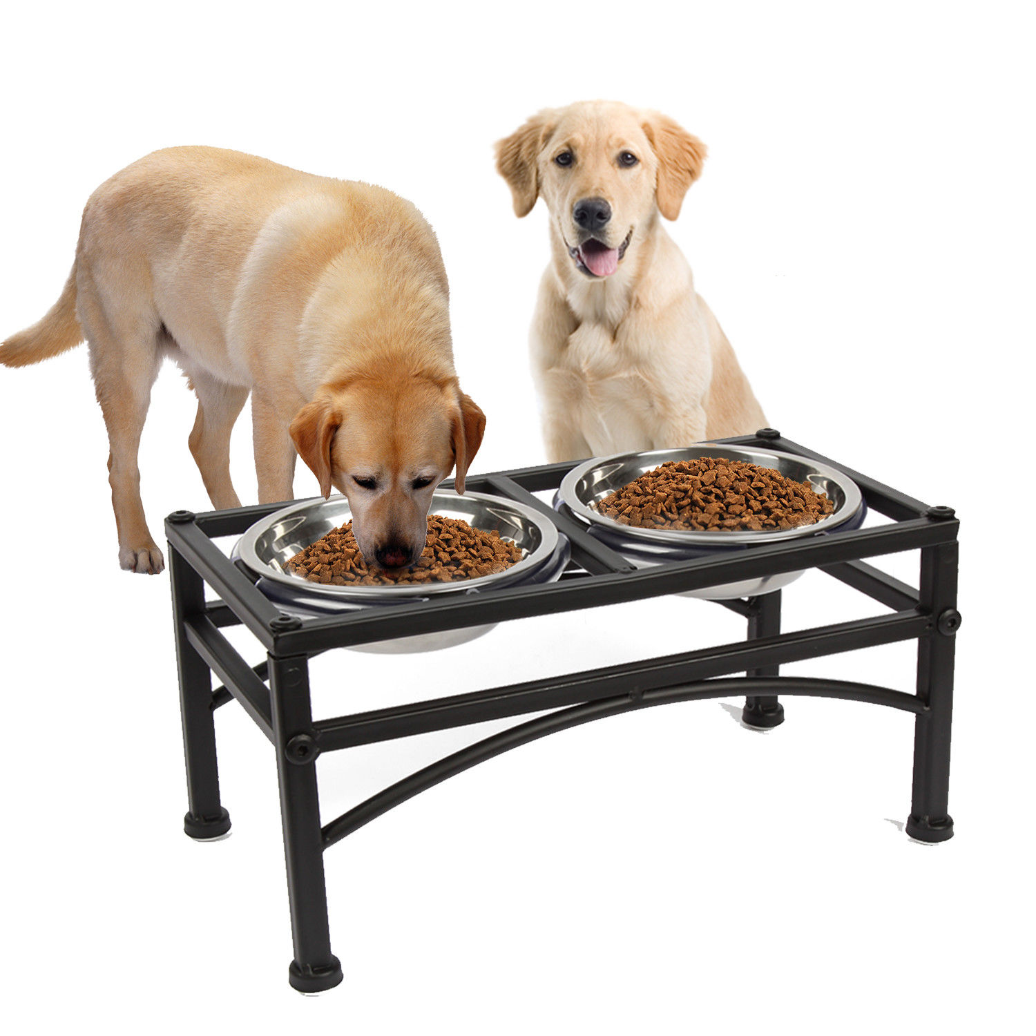 Raised Dog Bowls Elevated Cat Feeder With Two Stainless Steel Bowls-Perfect for Water Food or Treats