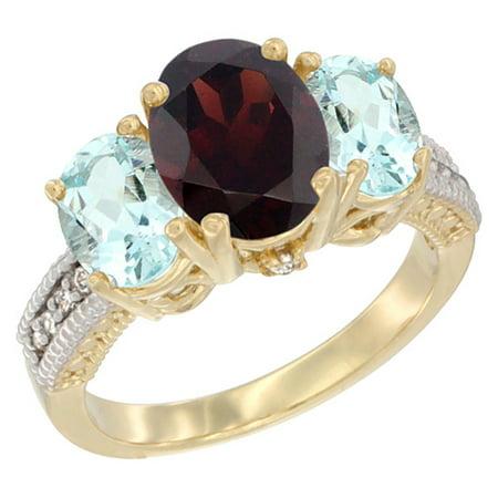 14K Yellow Gold Diamond Natural Garnet Ring 3-Stone Oval 8x6mm with Aquamarine, size 8 14k Gold Natural Garnet Ring