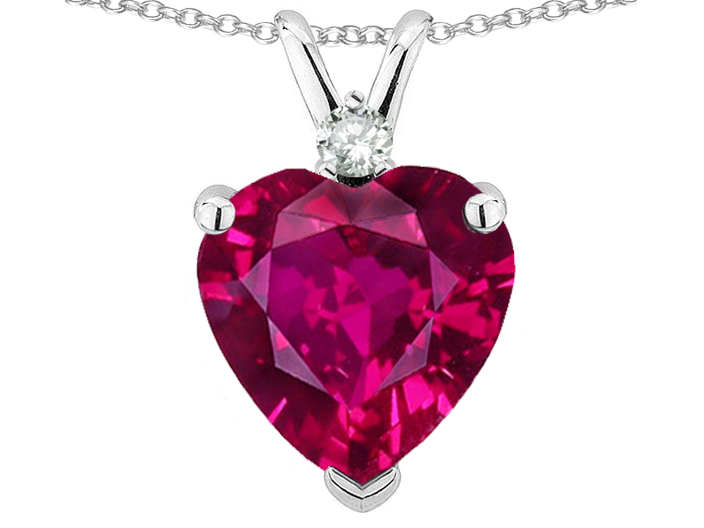 Star K 8mm Created Ruby Heart Pendant Necklace in 10 kt White Gold by