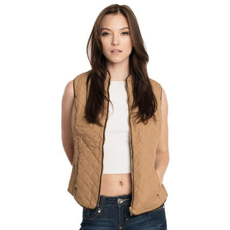 Womens Solid Quilted Zip Up Padding Vest Jacket ()
