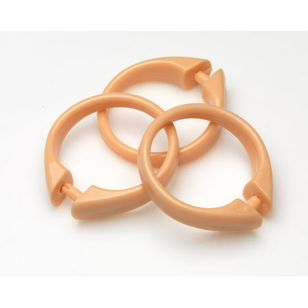 Peach Set Of 12 Easy To Use Plastic Snap On Shower Curtain Rings Size 2 Diameter