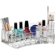 "Simplify 19-Section Curved Cosmetic and Jewelry Holder - Clear (Dims: 11.20"" x 4.60"" x 3.40"")"