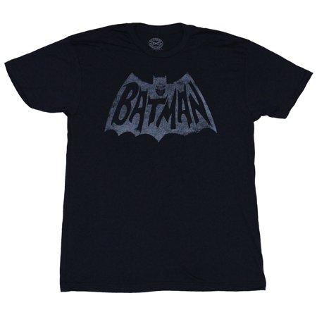 Batman (DC Comics) Mens T-Shirt - Distressed Single Color Print 60's Style Logo (60s Style Clothing For Men)