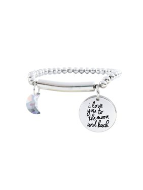 Pink Box Stainless Steel 'I Love You to the Moon and Back' Beaded Bracelet with Swarovksi Crystal
