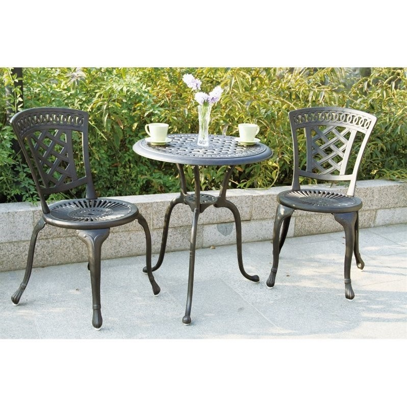 Darlee New Port 3 Piece Patio Bistro Set in Antique Bronze