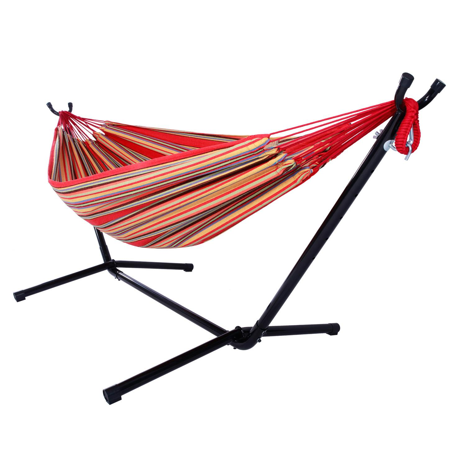 Ktaxon Portable Outdoor Polyester Hammock Set Garden Swing Set  indoor Swing Bed Spreader With Space Saving Steel Stand