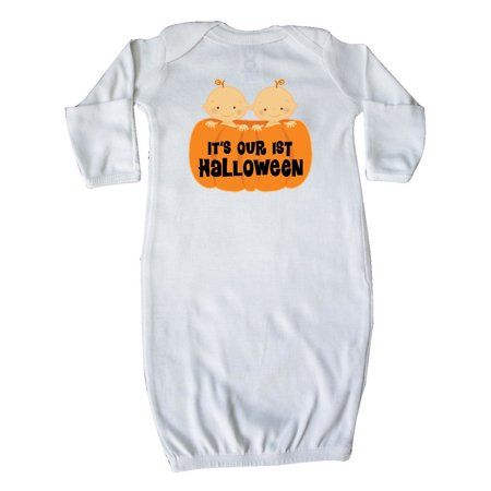 Twins 1st Halloween Pumpkin Newborn Layette White - Newborn First Halloween