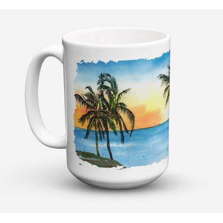 Palm Tree Dishwasher Safe Microwavable Ceramic Coffee Mug 15 ounce 8551CM15