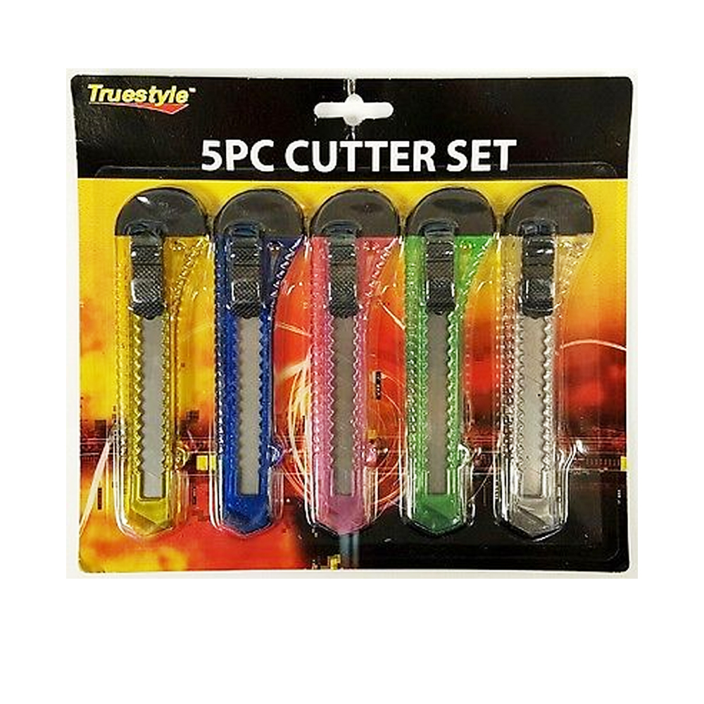 5 Pc Retractable Cutter Set Razor Blade Utility Knife Box Snap Off Lock Tool by TCB IMPORTS
