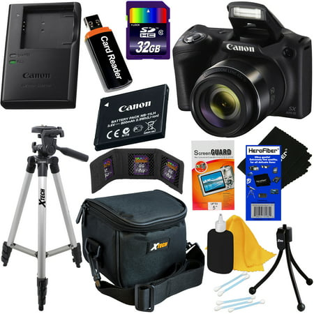 Canon Powershot SX420 IS 20 MP Wi-Fi Digital Camera with 42x Zoom (Black), Includes: Canon NB-11LH Battery & Canon Charger + 9pc 32GB Deluxe Accessory Kit w/ HeroFiber Cloth