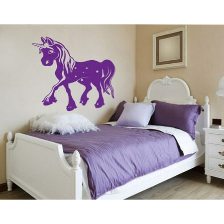 Magic Unicorn Wall Decal - wall decal, sticker, mural vinyl art home decor - 4473-0 - White, 16in x 15in