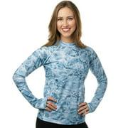 Aqua Design Women Long Sleeve Sun Protection Rash Guard Swim Surf Snorkel Shirt with Thumb Holes, Pink Water, XS
