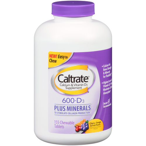Caltrate Calcium & Vitamin D3 Supplement Chewable Tablets, 155 count