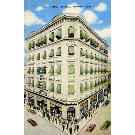 Postcard promoting the Hotel Bristol hotel in Havana Cuba Poster Print by Curt Teich & - Hotel Club Postcards