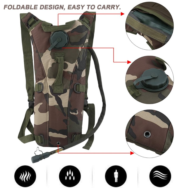 2018 New Upgraded 3L Military Tactical Hydration Backpack Bag Cycling Hydration Backpack Water Bladder Bag For Outdoor... by