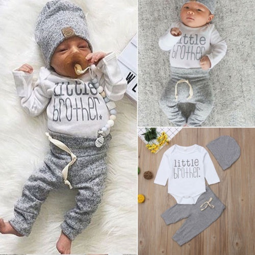 Infant Newborn Baby Boy Clothes Little Brother Print Romper Pants Legging Hat Outfits Set