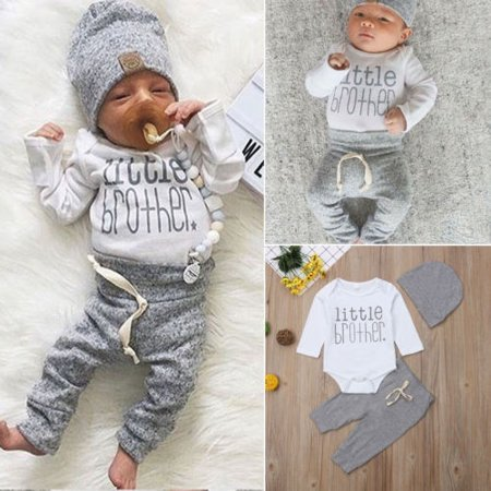 Infant Newborn Baby Boy Clothes Little Brother Print Romper Pants Legging Hat Outfits Set - Infant Boy Outfit