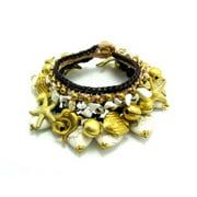 WNK International SWHG004 White Turquoise and Brass Bead Necklace and Bracelet Set