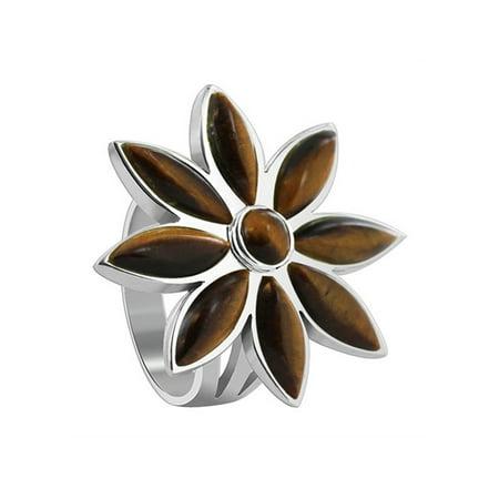 Gem Avenue 925 Sterling Silver Brown Color Tiger eye Floral Design Ring