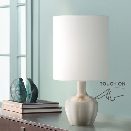 "360 Lighting Modern Desk Table Lamp 15 1/4"" High Brushed Steel White Drum Shade Touch On Off for Bedroom Bedside Office"