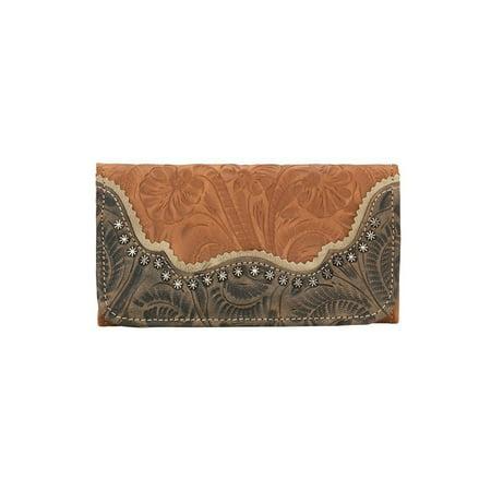 American West 2615282 Saddle Ridge Ladies Tri-fold Wallet, Golden Tan, Distressed Charcoal Brown & Sand