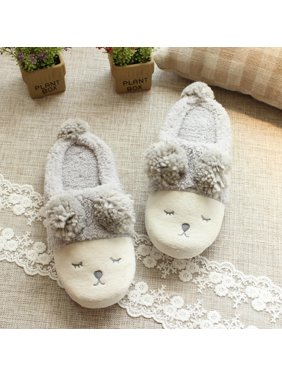 706bcef60c4d1 Product Image Winter Warm Short Plush Indoor Slippers Cute Cartoon Sheep  Lamb Soft Indoor Home Wear Slippers House
