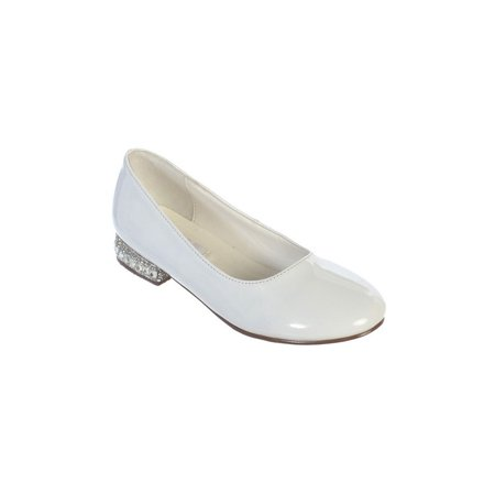 White Leather Rhinestone - Girls White Glitter Rhinestone Jeweled Heel Patent Leather Flats