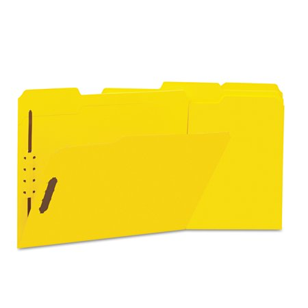 Universal Deluxe Reinforced Top Tab Folders, 2 Fasteners, 1/3 Tab, Letter, Yellow, 50/Box