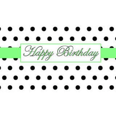 Black & White Polka Dot Happy Birthday Elegant Edible Frosting Photo Cake Topper -Lime Green - Polka Dot Cake