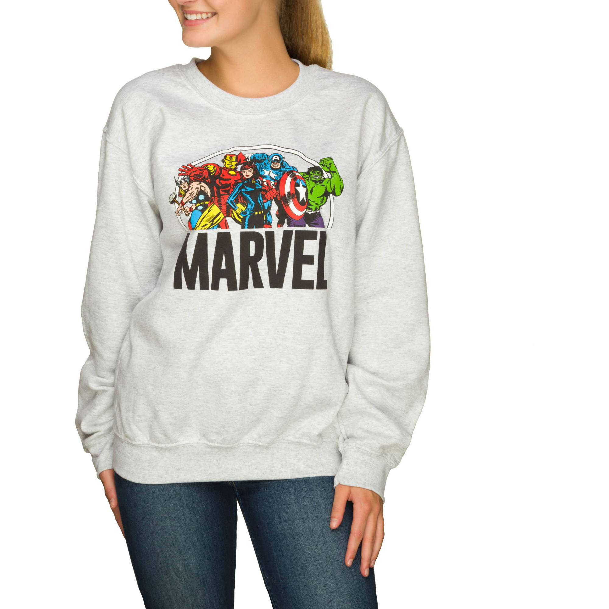 "Juniors' ""Marvel Heroes"" Crewneck Pullover Sweater"