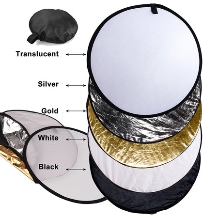 5 in 1 Photo Photographic Reflector Set ~ 60cm, 24 inches Round ~ Gold, Silver, White, Black, and Translucent ~ Spring Steel Frame, Collapsible, Nylon.., By Bluedot Trading