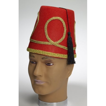 Deluxe Red Fez Costume Hat One Size Fits Most