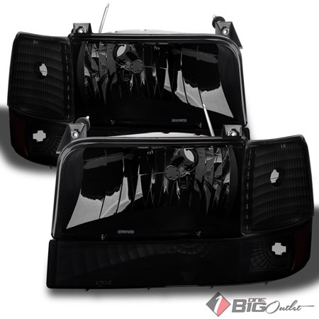 For 1992-1996 Bronco, F1/2/350 Blk Smoked Headlights + Parking Lights + Corner Lamps Pair Left+Right 1993 1994 1995