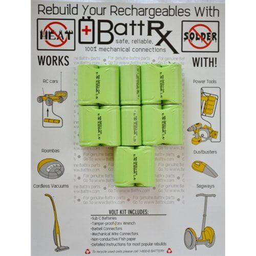 BattRx DeWalt 14.4 V NiMH FULL SIZE 3.2A Sub C Rechargeable Battery Upgrade Kit