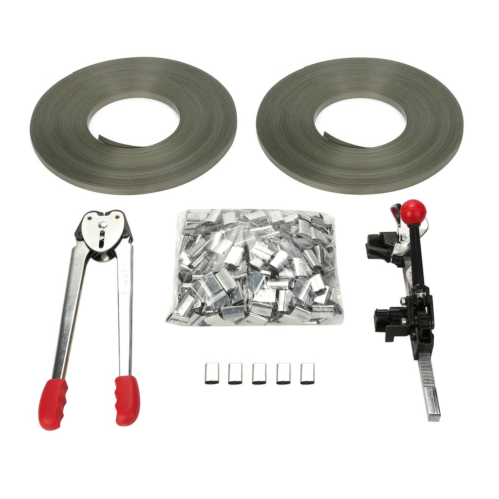 Strapping Tool Kit With Metal Seal Poly Strap Banding Roll Supply Set Strapping Tensioner Packing Machinery
