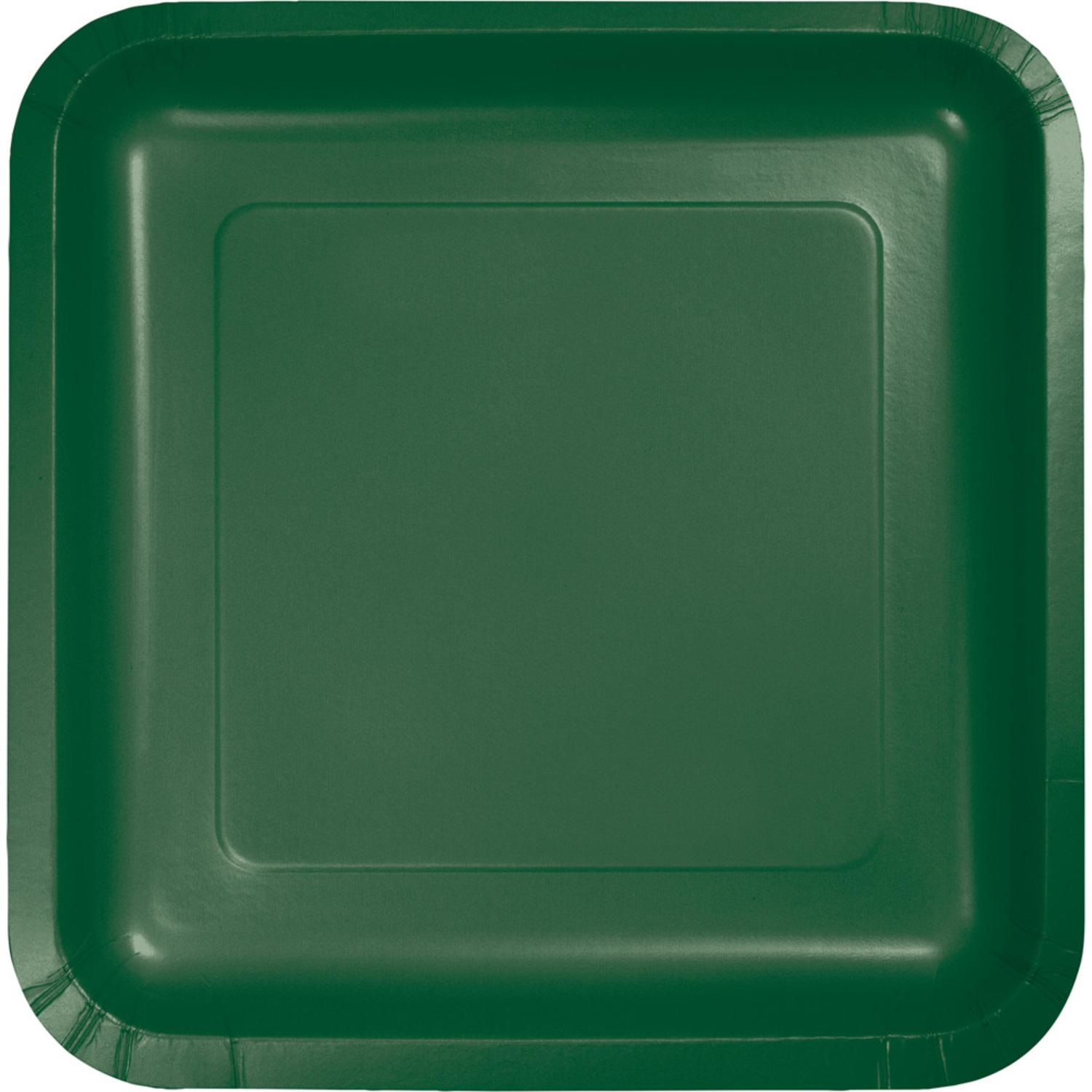 """7"""" Pack of 180 Hunter Green Premium Disposable Paper Party Lunch Plates"""