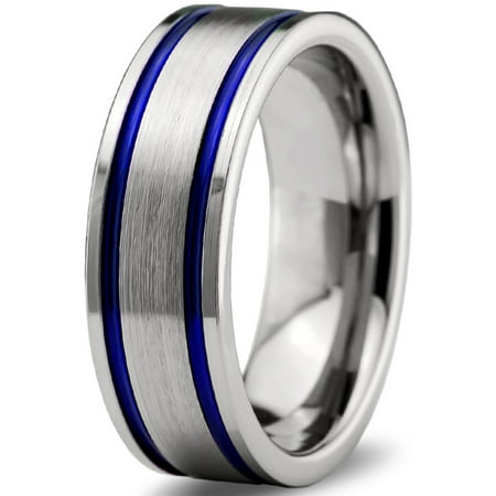 Charming Jewelers Tungsten Wedding Band Ring 8mm For Men Women Blue Grey Pipe Cut Brushed Lifetime Guarantee