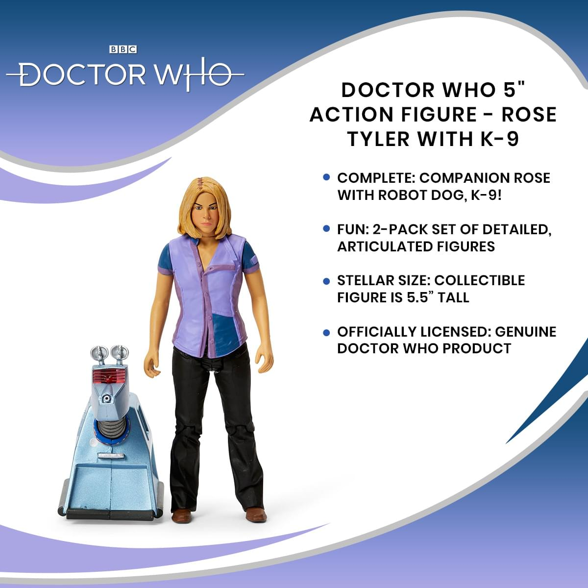 "Doctor Who 5/"" Action Figure Rose Tyler with K-9"